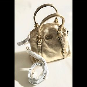 Michael Kors NWT metallic gold leather Bowler bag